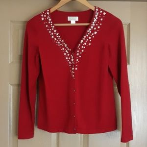 Red Cardigan sweater with silver star detail